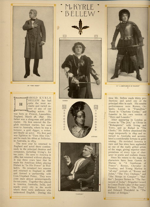 "Information about Kyrle Bellew, actor in ""Raffles"""