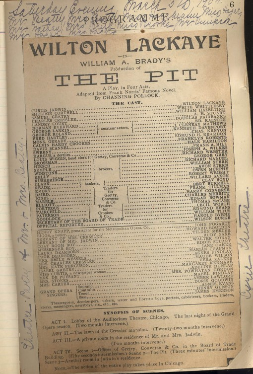 """Playbill for """"The Pit"""""""