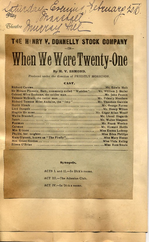 "Playbill for ""When We Were Twenty-one"""