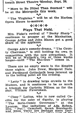 Review of Plays at many theaters in 1904